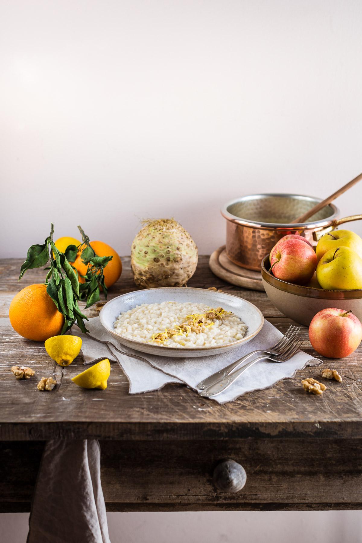 Vegan Waldorf Risotto glutenfree Apple Celeriac Risotto estratto di mela ricetta RISOTTO alle MELE e SEDANO RAPA con noci vegan senza glutine apple juice