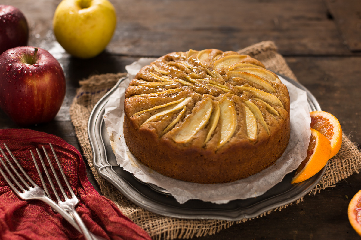 easy Italian vegan apple cake rifned sugar free whole spelt flour -