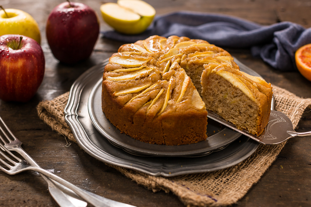 easy Italian vegan apple cake rifned sugar free whole spelt flour - torta di mele vegan all'arancia light farro integrale