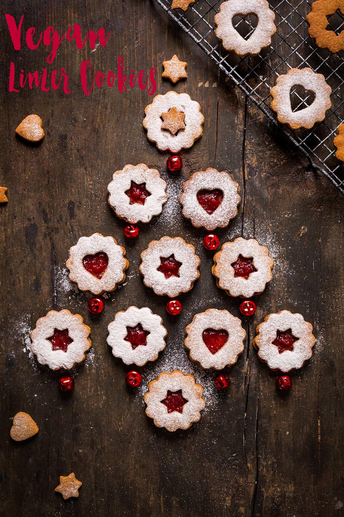 BISCOTTI LINZER VEGANI - VEGAN LINZER COOKIES recipe biscotti di Natale vegan friabili senza uova senza burro