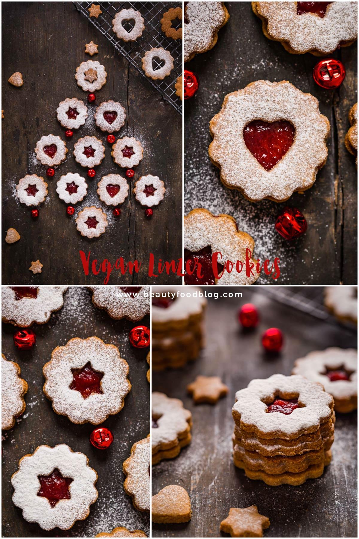 easy healthy #VEGAN #LINZER #COOKIES recipe BISCOTTI LINZER VEGANI biscotti di Natale vegan friabili senza uova senza burro