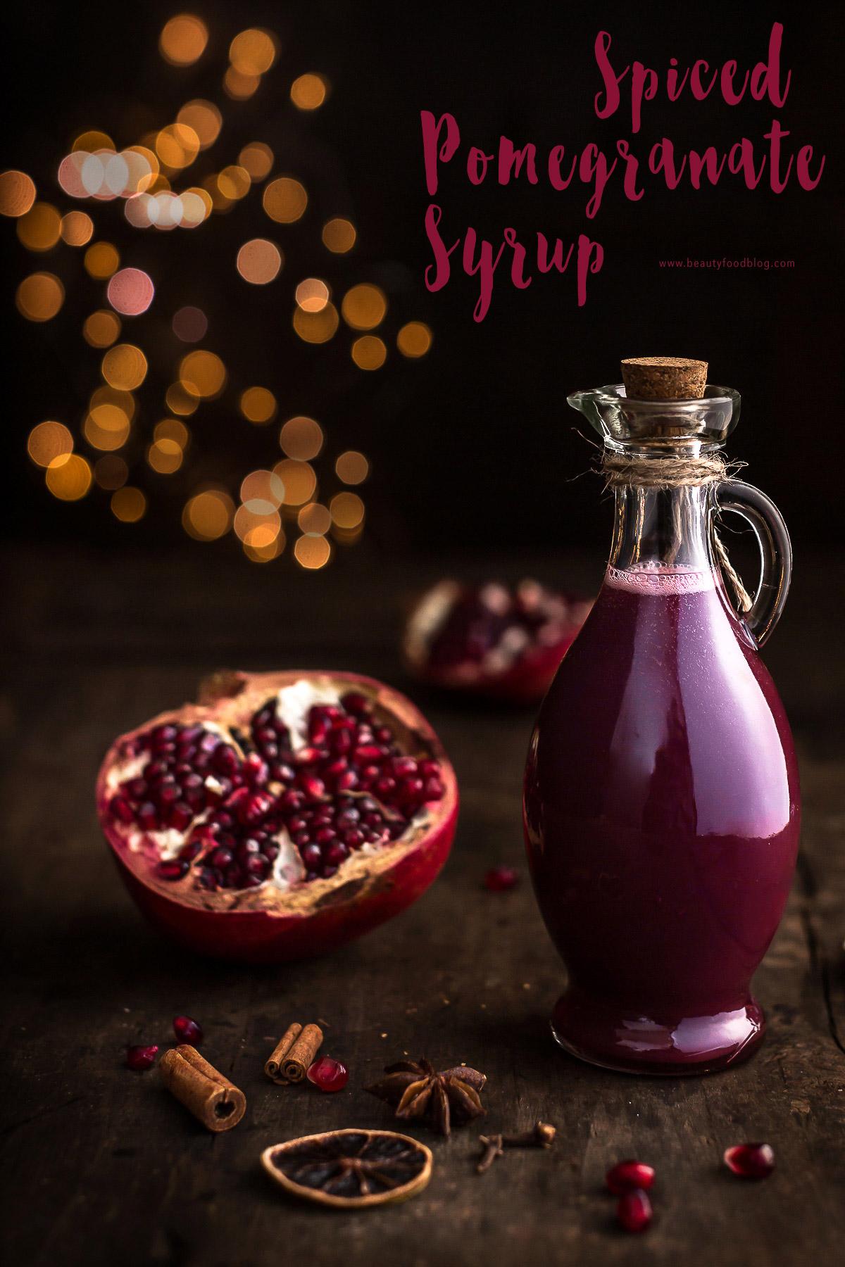ricetta SCIROPPO alla MELAGRANA idea regalo per Natale speziato fatto in casa homemade DIY spiced pomegranate syrup recipe christmas #vegan #syrup #xmas