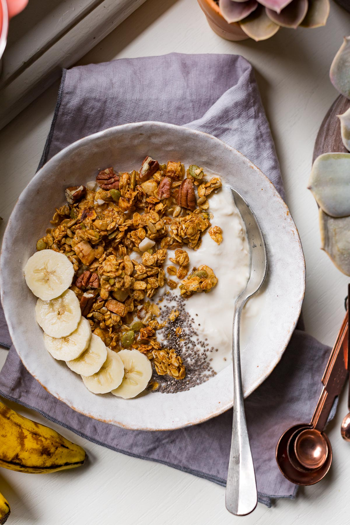 BANANA BREAD GRANOLA VEGAN senza glutine con sciroppo d acero #granola light simple VEGAN glutenfree banana bread #granola