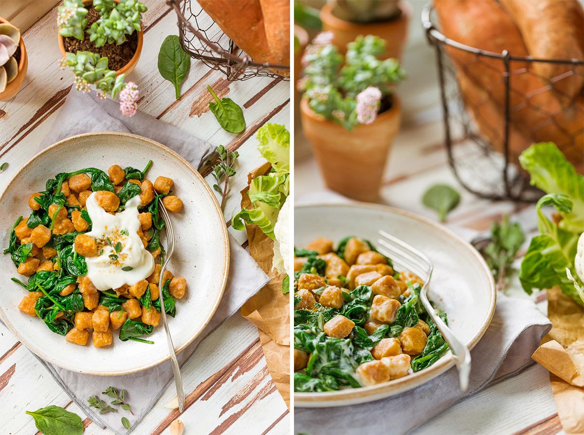 GNOCCHI DI PATATE DOLCI VEGAN di farro integrale con SALSA di CAVOLFIORE light vegan SWEET POTATO GNOCCHI with CAULIFLOWER SAUCE and spinach #vegan #cauliflower