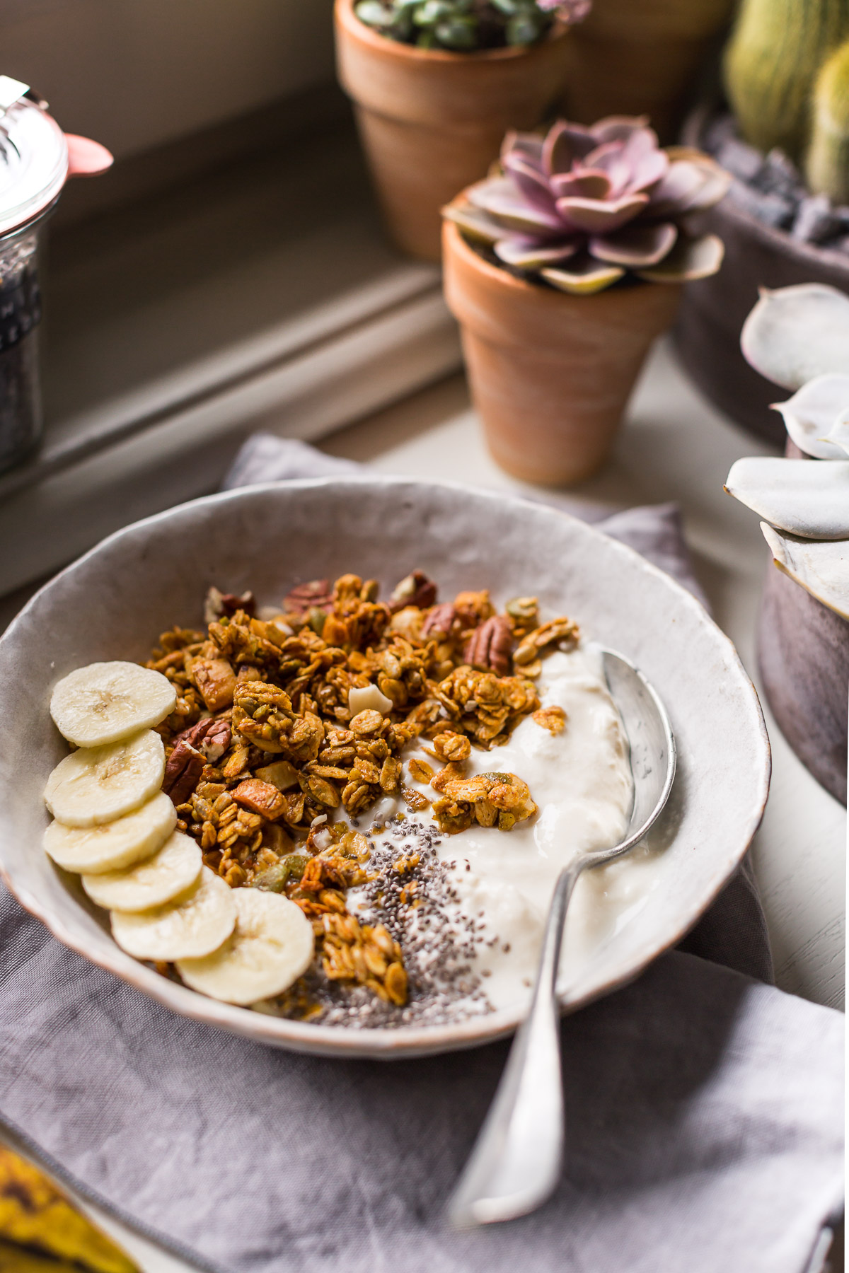 banana bread granola vegan con sciroppo d acero senza glutine granola light the best VEGAN banana bread granola glutenfree recipe #GRANOLA