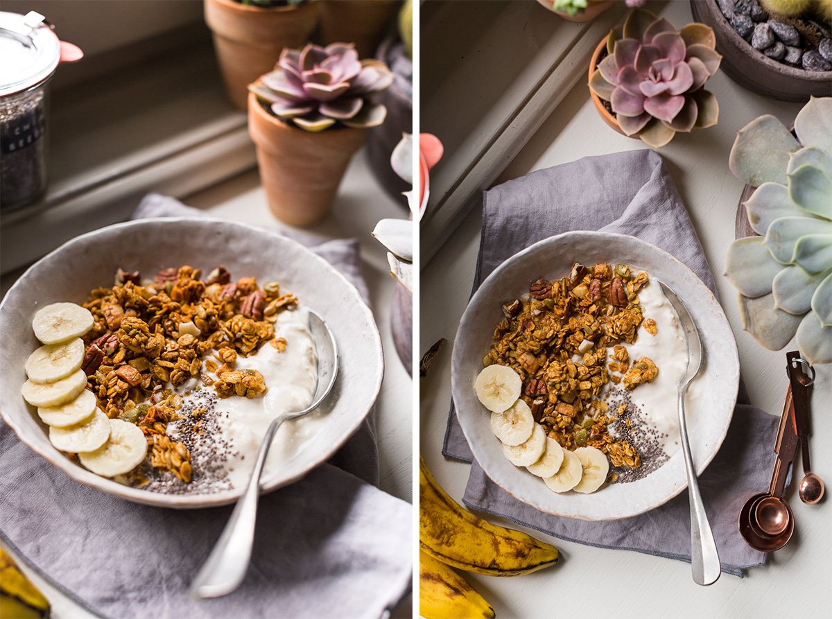 simple 30 MINUTES VEGAN BANANA BREAD GRANOLA #glutenfree recipe banana bread granola vegan senza glutine ricetta light con sciroppo d acero noci