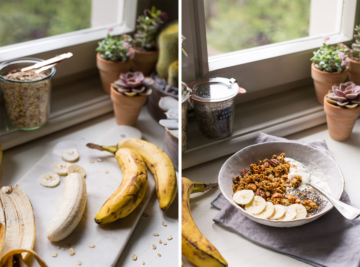 simple 30 MINUTES VEGAN BANANA BREAD GRANOLA #glutenfree recipe banana bread #granola vegan senza glutine ricetta light con sciroppo d acero noci
