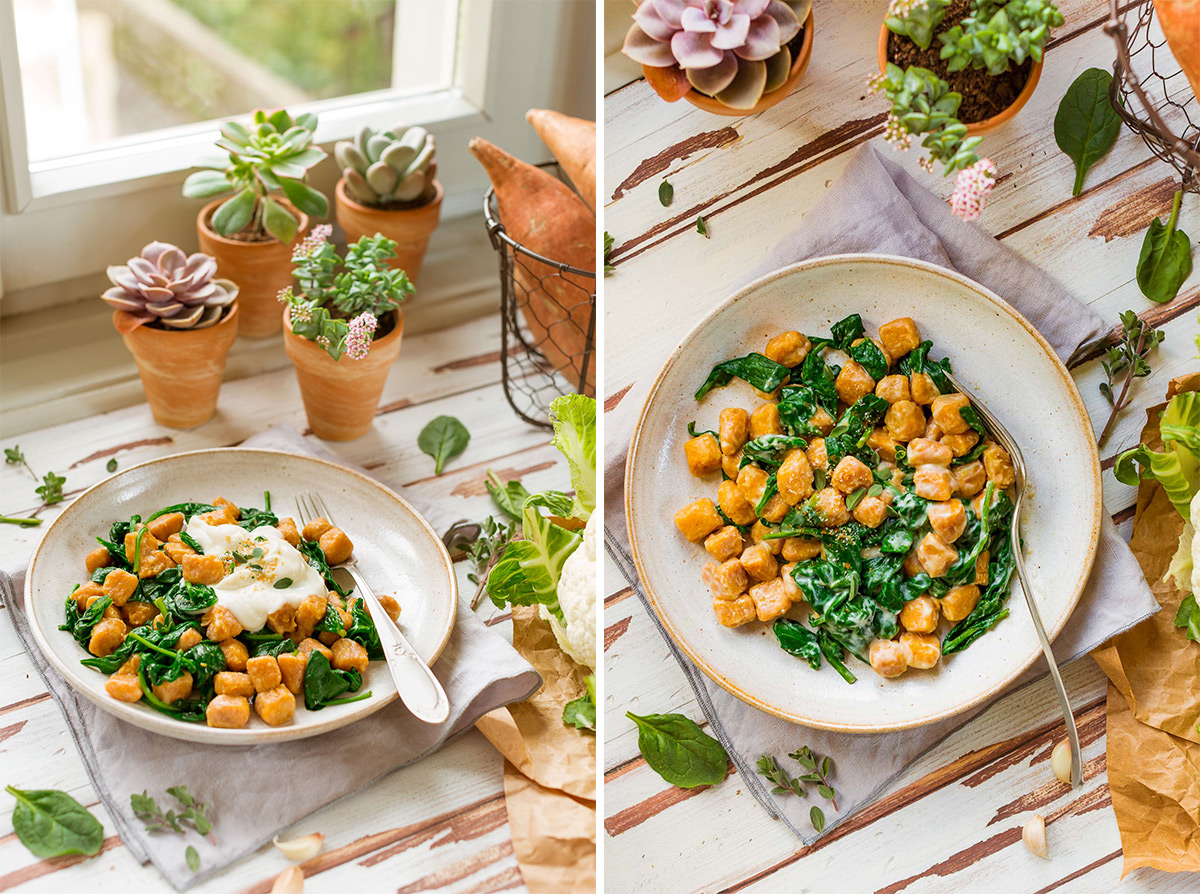 vegan SWEET POTATO GNOCCHI with CAULIFLOWER SAUCE and spinach #vegan #cauliflower come preprarare GNOCCHI DI PATATE DOLCI VEGAN di farro integrale con SALSA di CAVOLFIORE light #sweetpotato