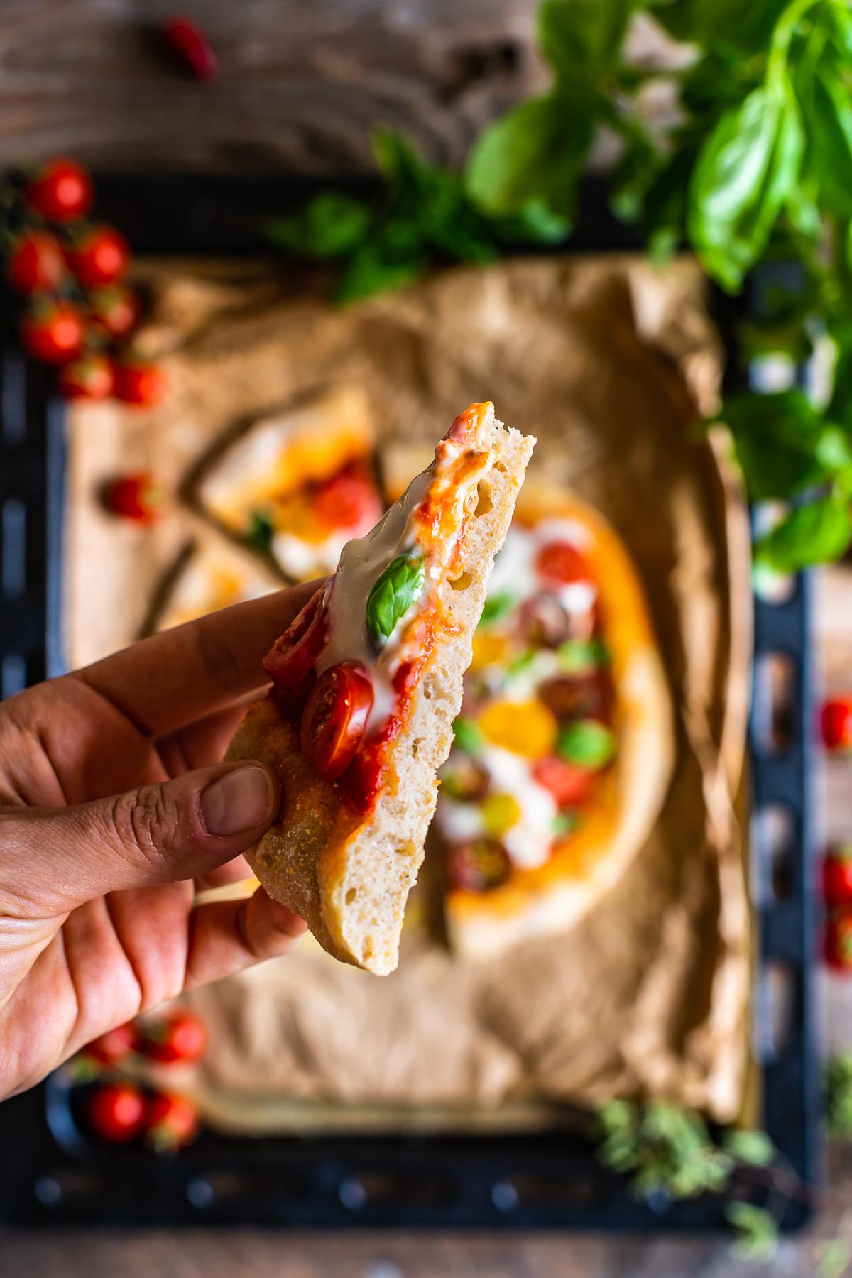 How to make VEGAN SPELT PIZZA with VEGAN MOZZARELLA SAUCE simple easyno knead #pizza PIZZA di FARRO a lunga lievitazione PIZZA VEGAN con SALSA MOZZARELLA VEGAN