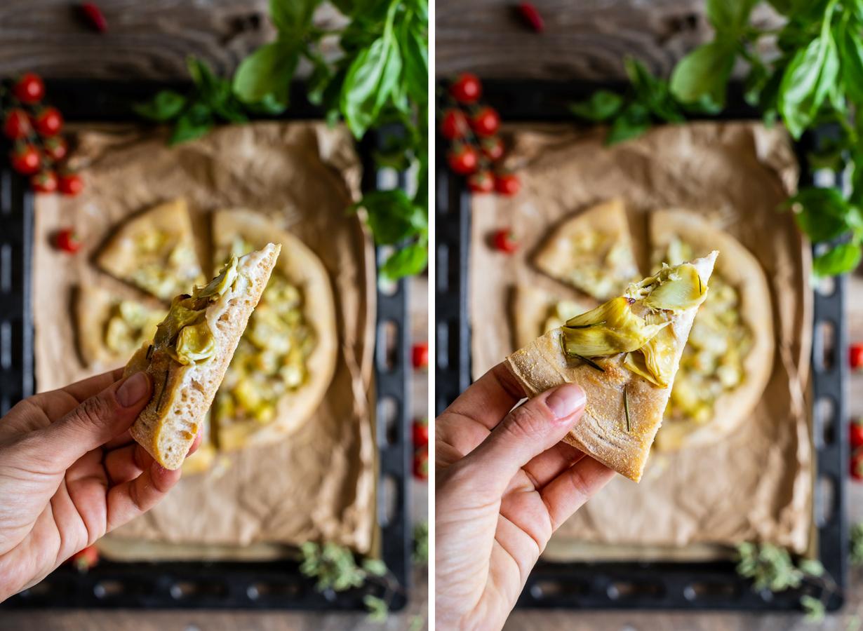 come fare la PIZZA VEGAN ai CARCIOFI PIZZA di FARRO a lunga lievitazione con SALSA MOZZARELLA VEGAN How to make VEGAN SPELT PIZZA with VEGAN MOZZARELLA ARTICHOKES pizza no knead healthy