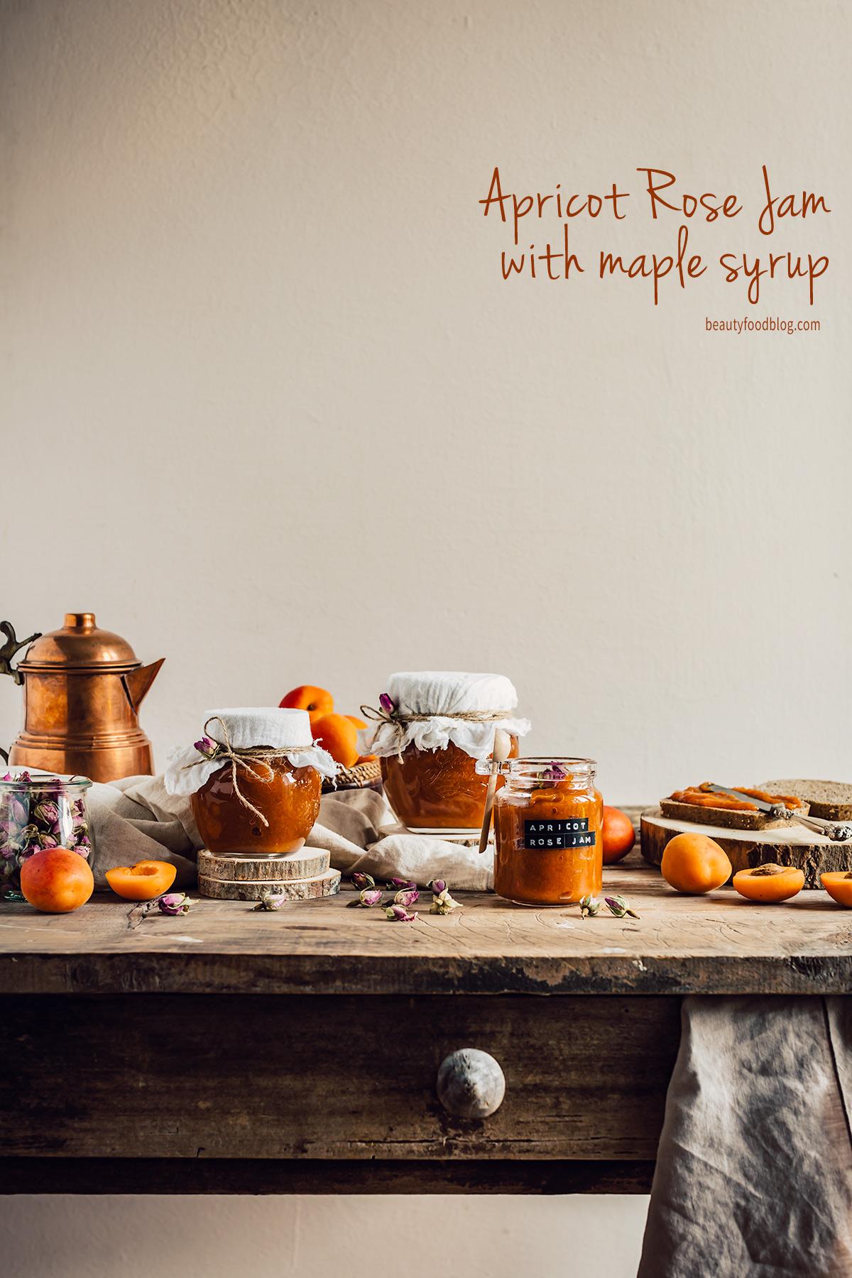 refined sugar free APRICOT JAM with maple syrup and Damascena #Rose #vegan ricetta marmellata CONFETTURA di ALBICOCCHE e sciroppo d acero alle rose di Damasco senza zucchero raffinato