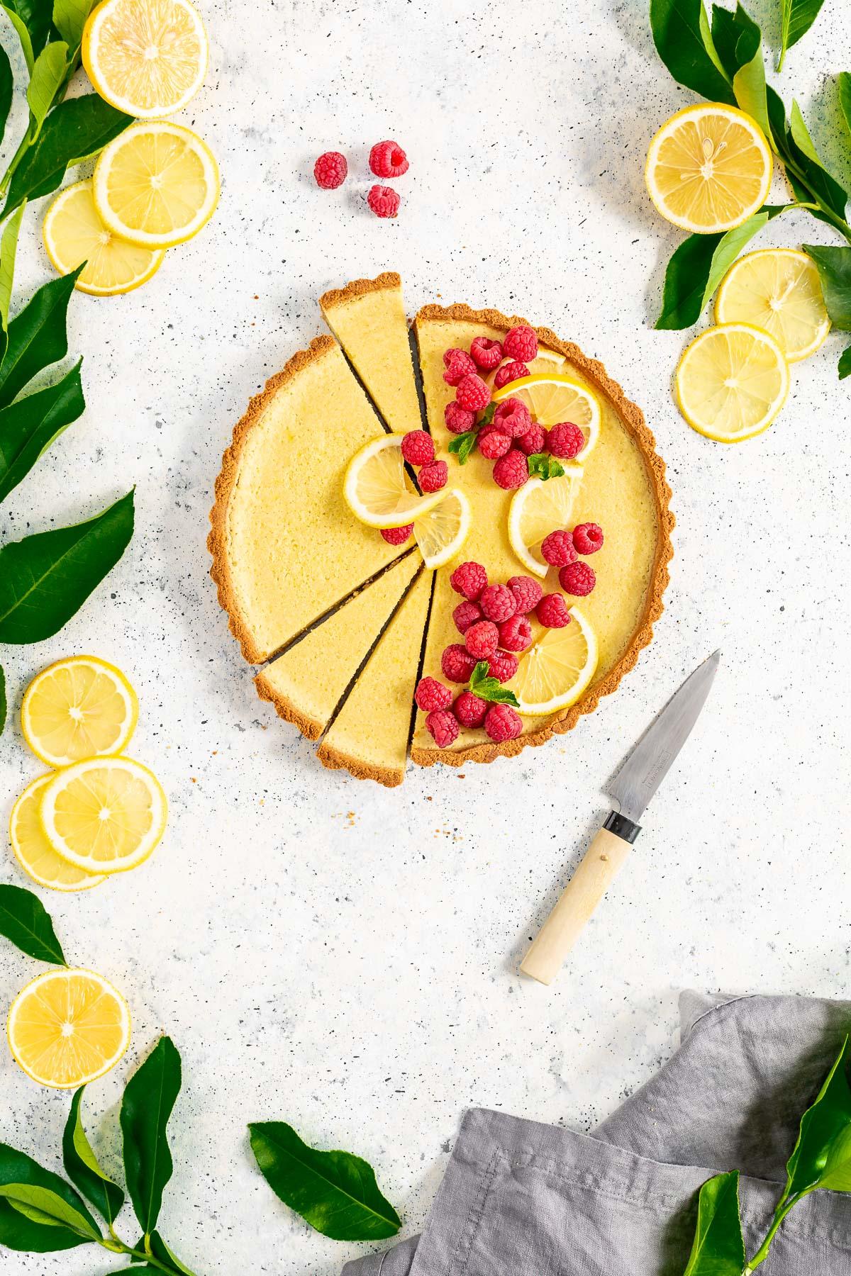 #CROSTATA al LIMONE VEGAN con pasta FROLLA ALLE MANDORLE senza glutine Gluten-Free Vegan Lemon Tart with Almond Crust Refined Sugar-Free