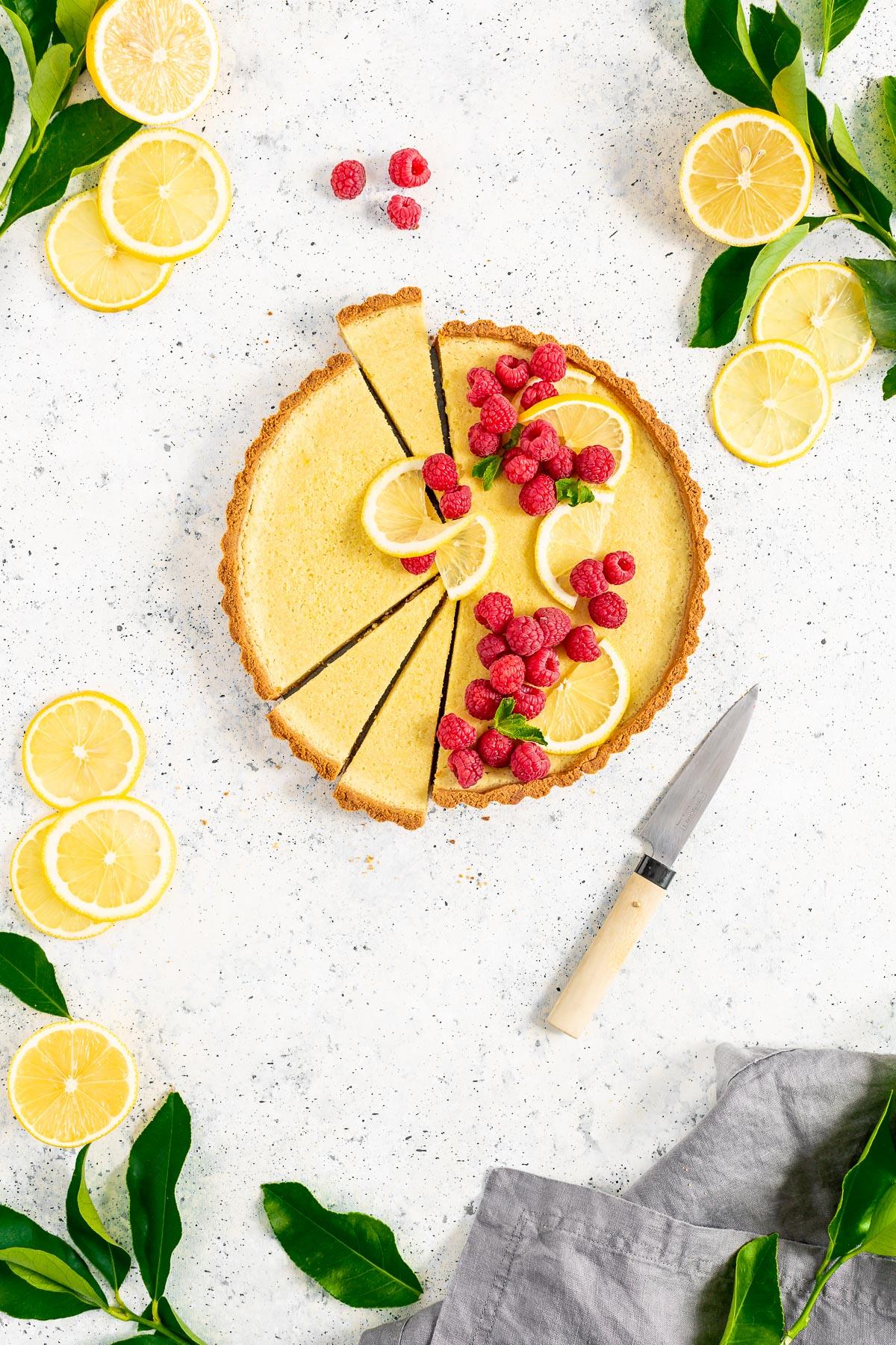 CROSTATA al LIMONE VEGAN con pasta FROLLA ALLE MANDORLE senza glutine Refined Sugar-Free Gluten-Free Vegan Lemon Tart with Almond Crust
