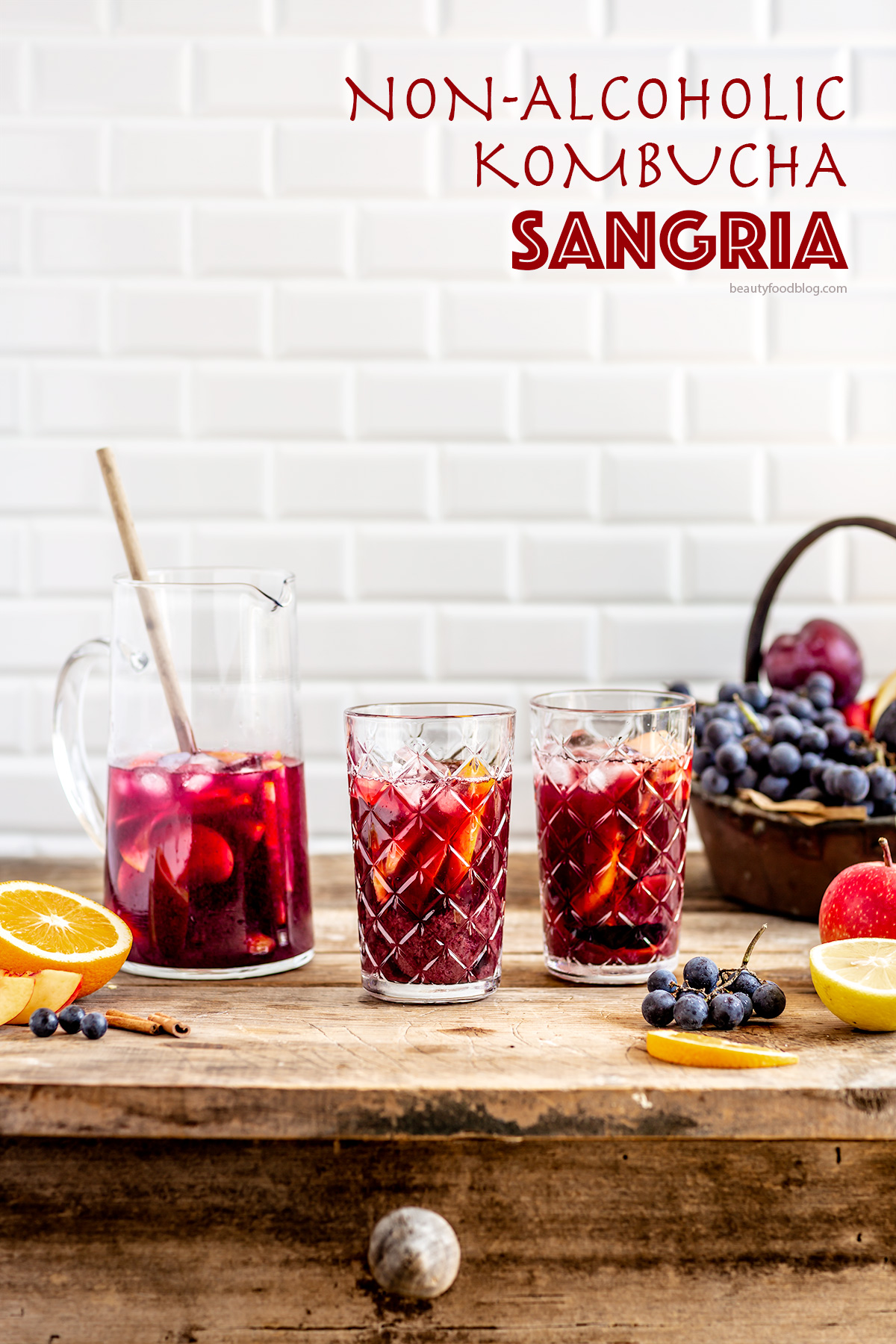 Simple HEALTHY non alcoholic KOMBUCHA SANGRIA recipe #vegan ricetta SANGRIA analcolica al KOMBUCHA facile light sana