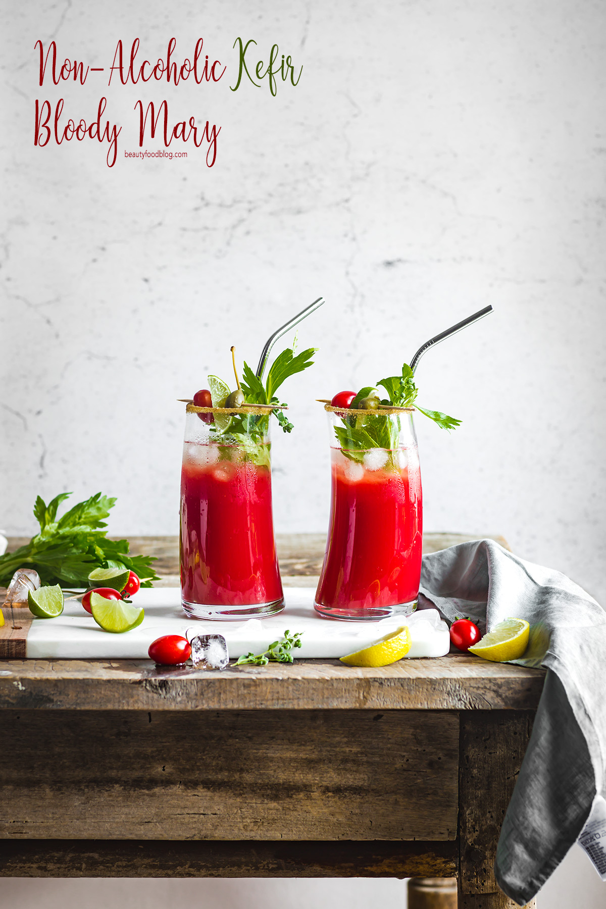 Vegan Water Kefir Virgin Mary recipe #cocktail ricetta Bloody Mary Analcolico al Kefir d acqua per brunch #healthy cocktail vegan senza glutine