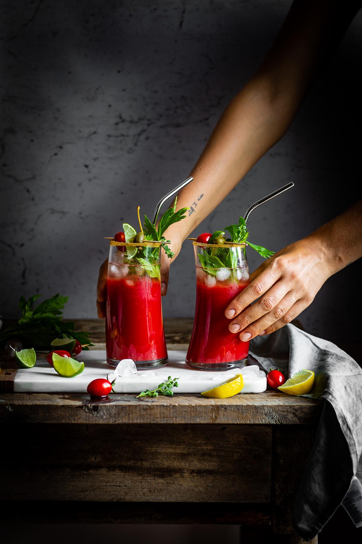 Vegan Water Kefir non alcoholic Bloody Mary recipe #cocktail ricetta Bloody Mary Analcolico al Kefir d acqua per brunch e festa sano rinfrescante succo di pomodoro