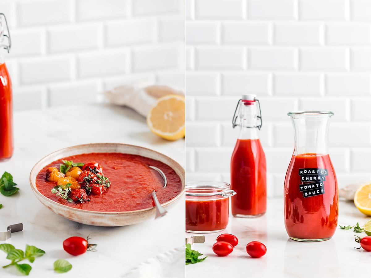 come fare la SALSA di POMODORINI ARROSTITI passata di pomodori confit vegan ROASTED CHERRY TOMATO SAUCE vegan tomato suop recipe