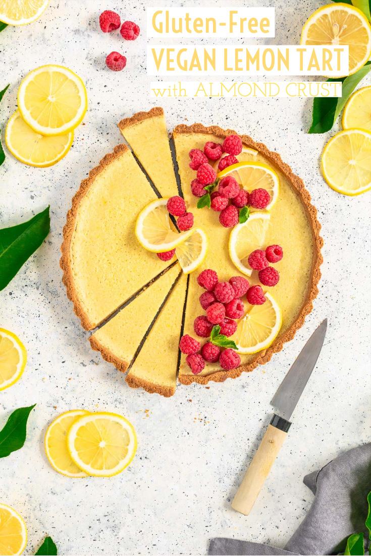 healthy Gluten-Free Vegan Lemon Tart with Almond Crust CROSTATA al LIMONE VEGAN con pasta FROLLA ALLE MANDORLE senza glutine senza zucchero raffinato