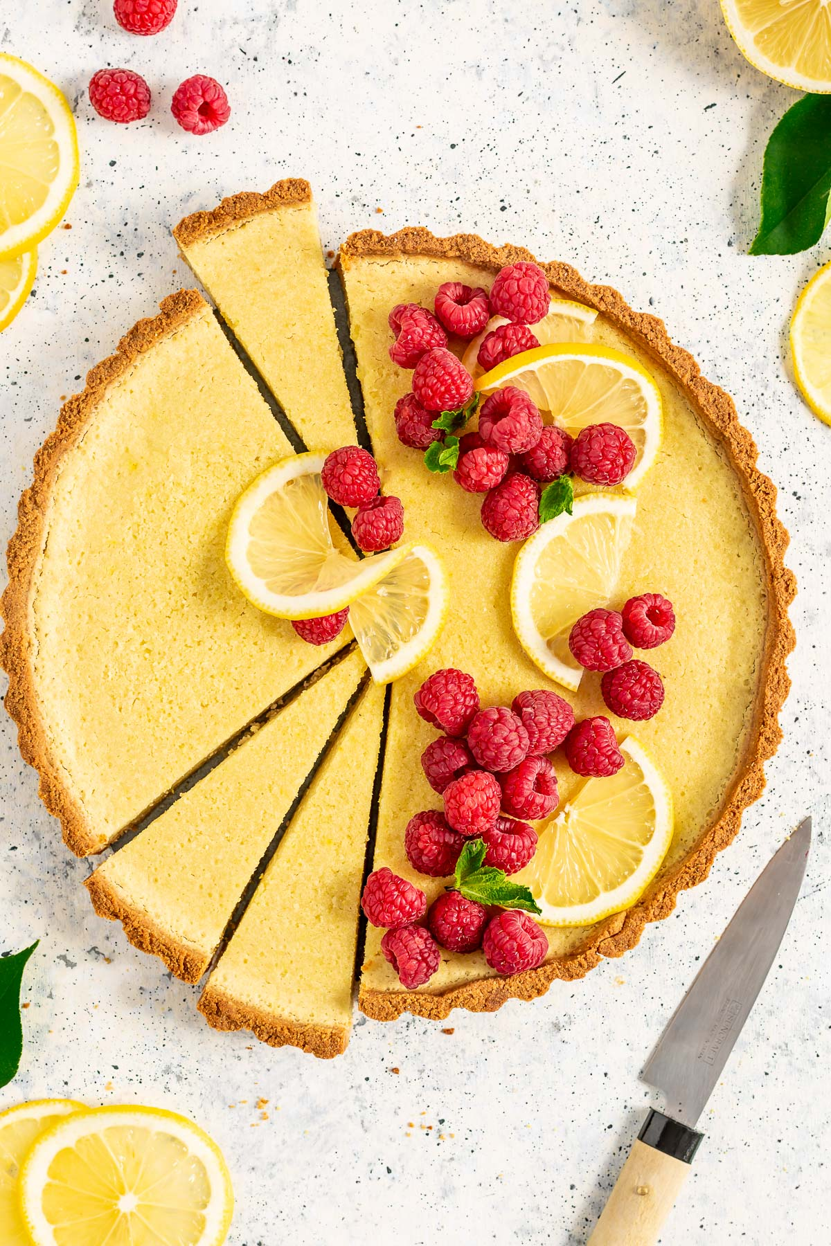 healthy Gluten-Free Vegan Lemon Tart with Almond Crust Refined Sugar-Free CROSTATA al LIMONE VEGAN con pasta FROLLA ALLE MANDORLE senza glutine