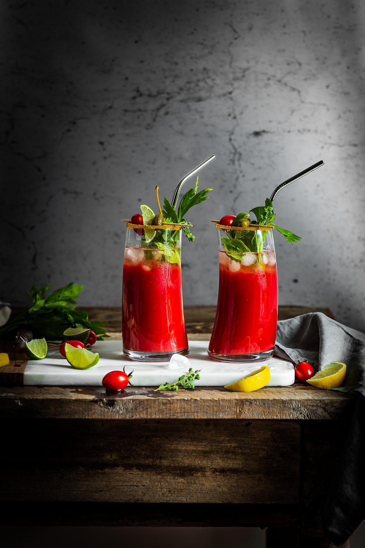 healthy Vegan Water Kefir NON-ALCOHOLIC BLOODY MARY recipe #cocktail ricetta Bloody Mary Analcolico al Kefir d acqua per brunch e festa sano rinfrescante succo di pomodoro