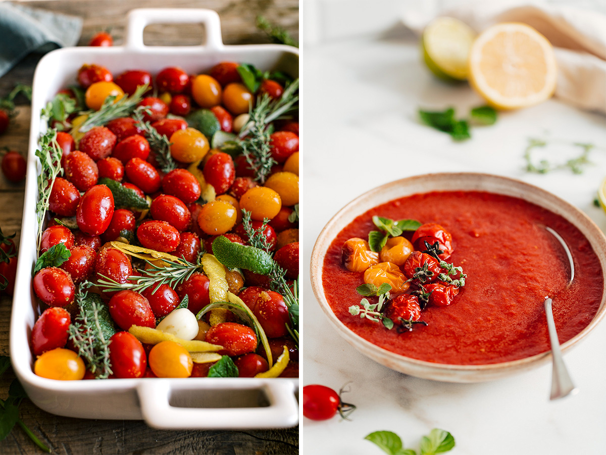how to make vegan ROASTED CHERRY TOMATO SAUCE vegan tomato suop recipe come fare la SALSA di POMODORINI ARROSTITI passata di pomodori confit