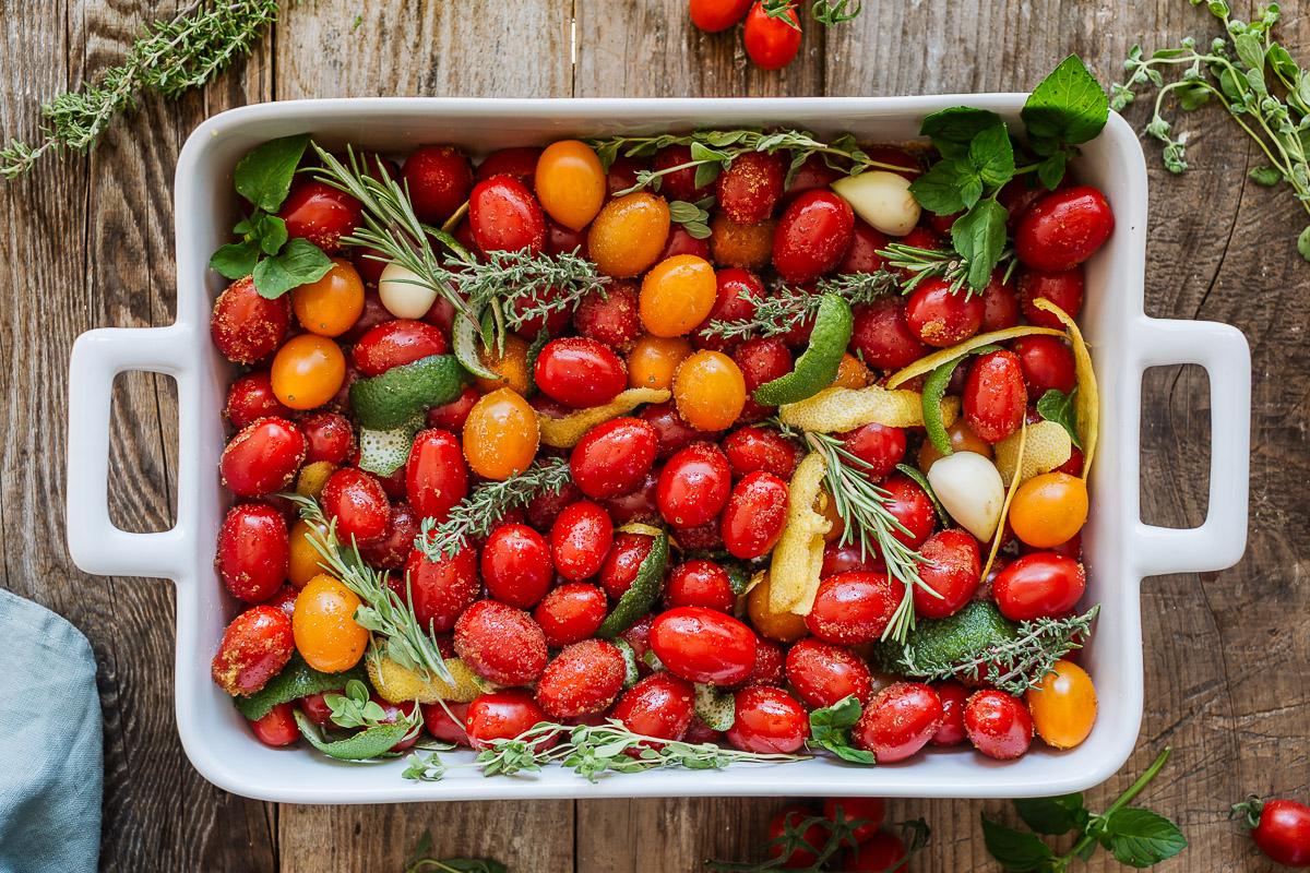 ricetta SALSA di POMODORINI ARROSTITI zuppa di pomodori pomodorini confit #vegan ROASTED CHERRY TOMATO SAUCE tomato suop recipe
