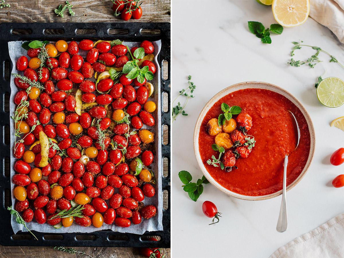 ricetta SALSA di POMODORINI ARROSTITI zuppa di pomodori pomodorini confit vegan ROASTED CHERRY TOMATO SAUCE #vegan tomato suop recipe