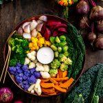 grain-free FALL HARVEST BUDDHA BOWL with steamed vegetables and EGG-FREE AIOLI Buddha bowl autunnale insalata di verdure al vapore e aioli senza uova