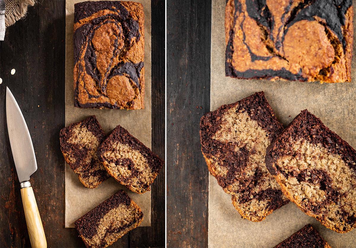 ricetta BANANA BREAD VEGAN SENZA GLUTINE variegato al cacao con avena mandorle marmorizzato senza zucchero VEGAN GLUTEN FREE MARBLED BANAN BREAD recipe with almonds oats