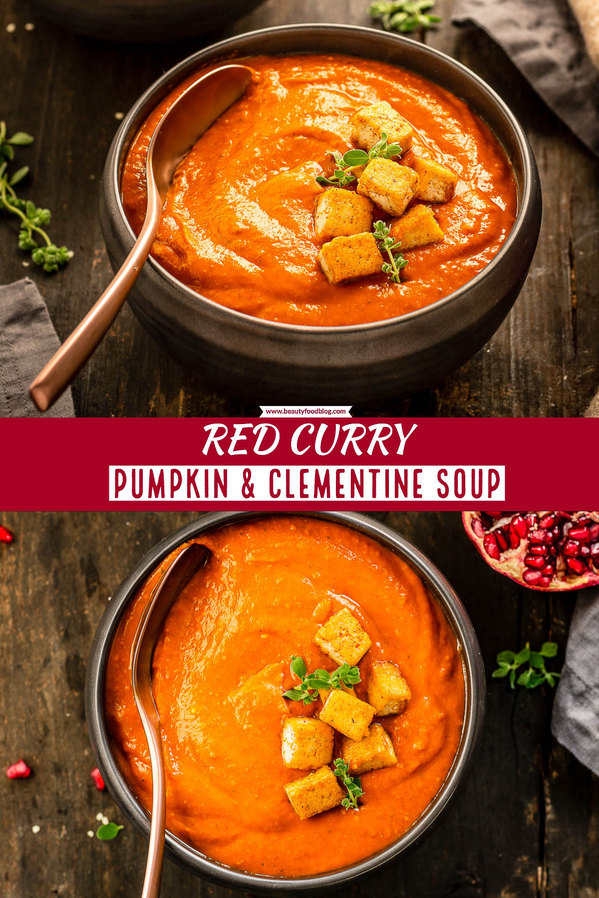 vegan creamy RED CURRY PUMPKIN SOUP 30 minutes autumn comfort food gluten free | CREMA di ZUCCA al CURRY rosso e clementine light vegan con tofu di canapa