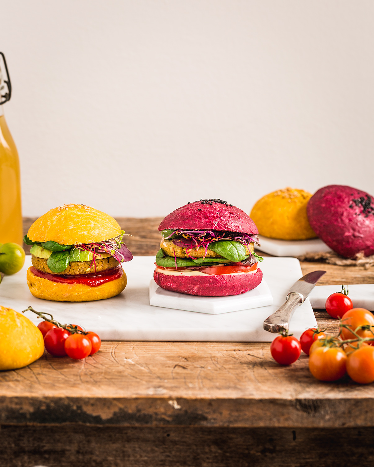 Homemade BEETS and CARROT VEGAN BURGER BUNS recipe PANINI VEGANI per BURGER al FARRO fatti in casa con barbabietola e carota