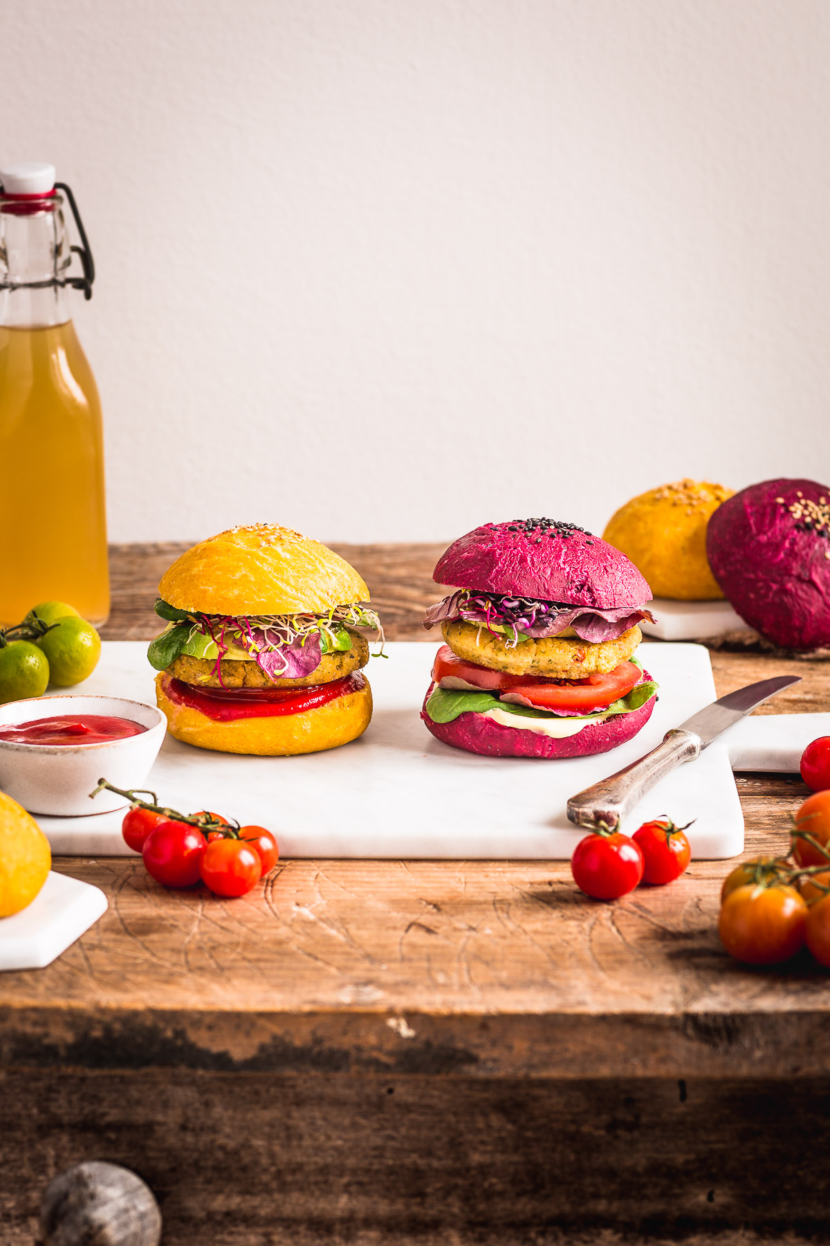 Homemade BEETS and CARROT VEGAN BURGER BUNS recipe PANINI VEGANI per BURGER al FARRO fatti in casa