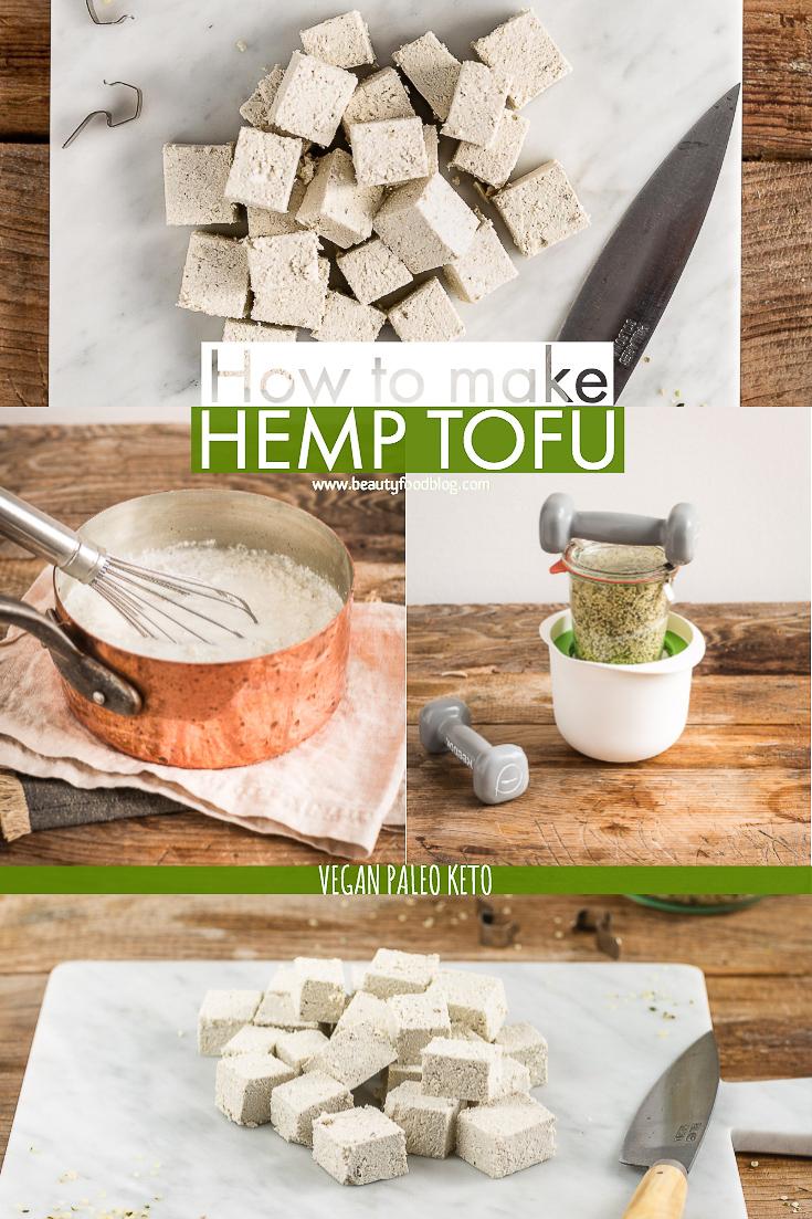 how to make HOMEMADE HEMP TOFU recipe hempfu Vegan Paleo Keto with hemp seeds come preparare ricetta TOFU di CANAPA fatto in casa senza soia con semi di canapa www.beautyfoodblog.com