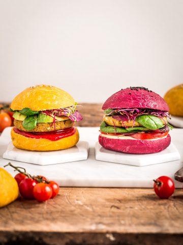 ricetta PANINI VEGANI per BURGER al FARRO fatti in casa colorati con barbabietola e carota senza burro Homemade COLORED VEGAN BURGER BUNS recipe