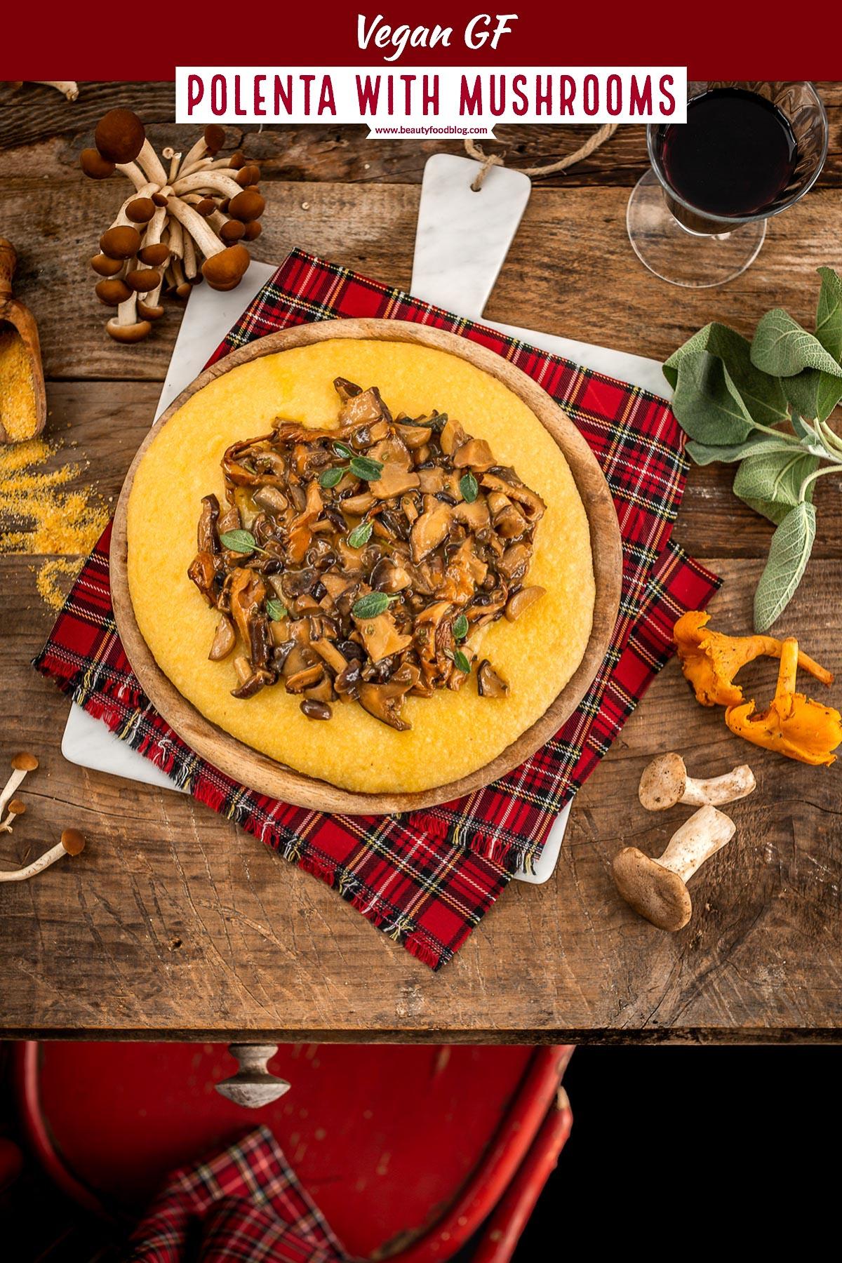 ricetta POLENTA e FUNGHI VEGAN light facile e veloce senza burro senza formaggio glutenfree #VEGAN ITALIAN POLENTA with MUSHROOMS and sage recipe