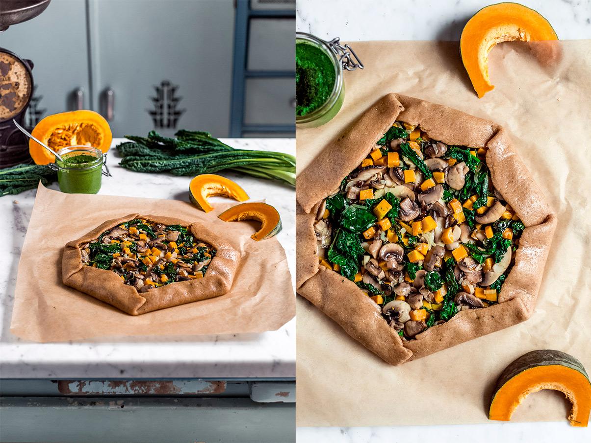 TORTA SALATA zucca e funghi vegan di farro integrale e pesto di cavolo nero VEGAN MUSHROOM PUMPKIN GALETTE with kale pesto savoury tart ricetta