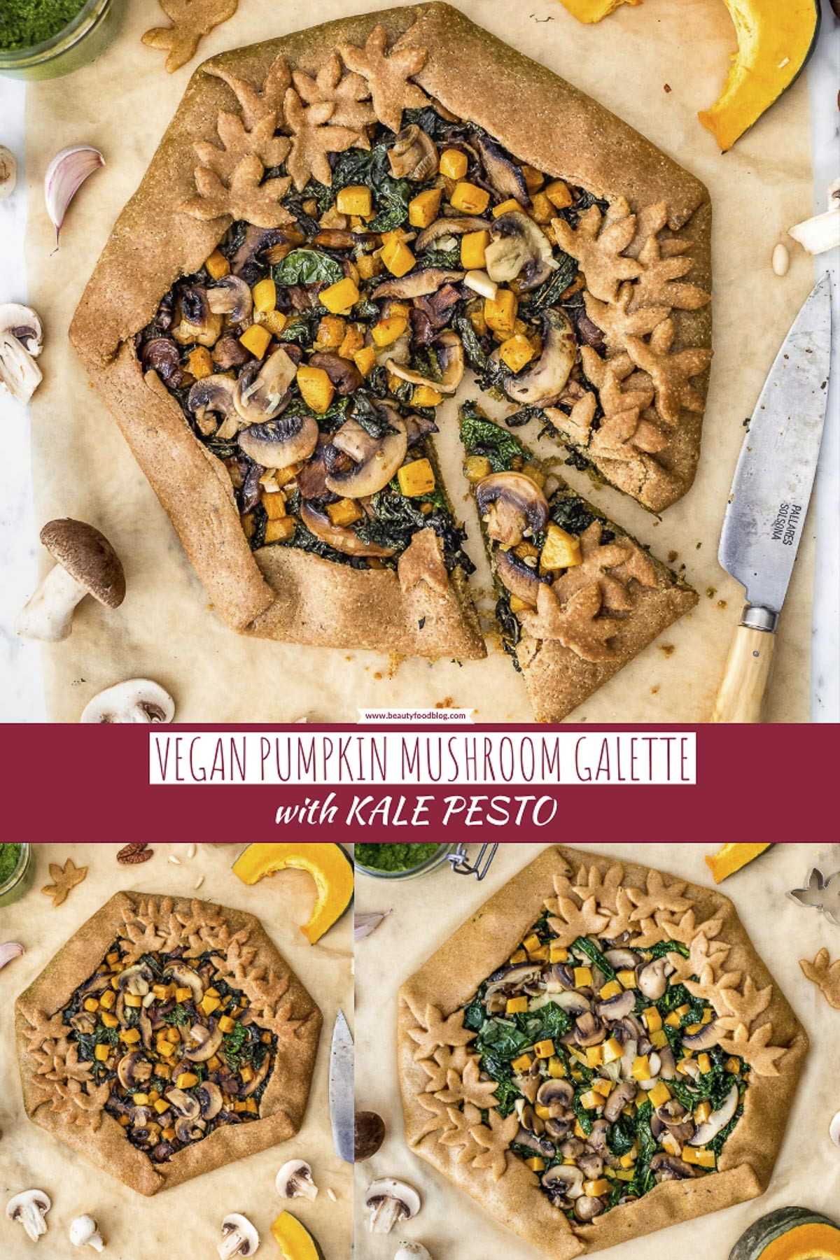 #VEGAN MUSHROOM #PUMPKIN GALETTE with kale pesto and #vegetables TORTA SALATA zucca e funghi vegan di farro integrale e pesto di cavolo nero #healthy