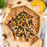 helathy #VEGAN MUSHROOM PUMPKIN GALETTE with kale #pesto TORTA SALATA zucca e funghi vegan di farro integrale e pesto di cavolo nero