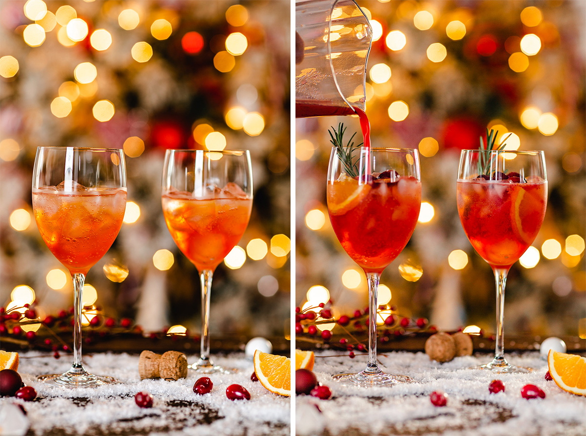 How to make Winter Holiday Christmas Spritzer recipe with cranberry orange juice Ricetta SPRITZ di NATALE con succo di arance e cranberry mirtilli rossi
