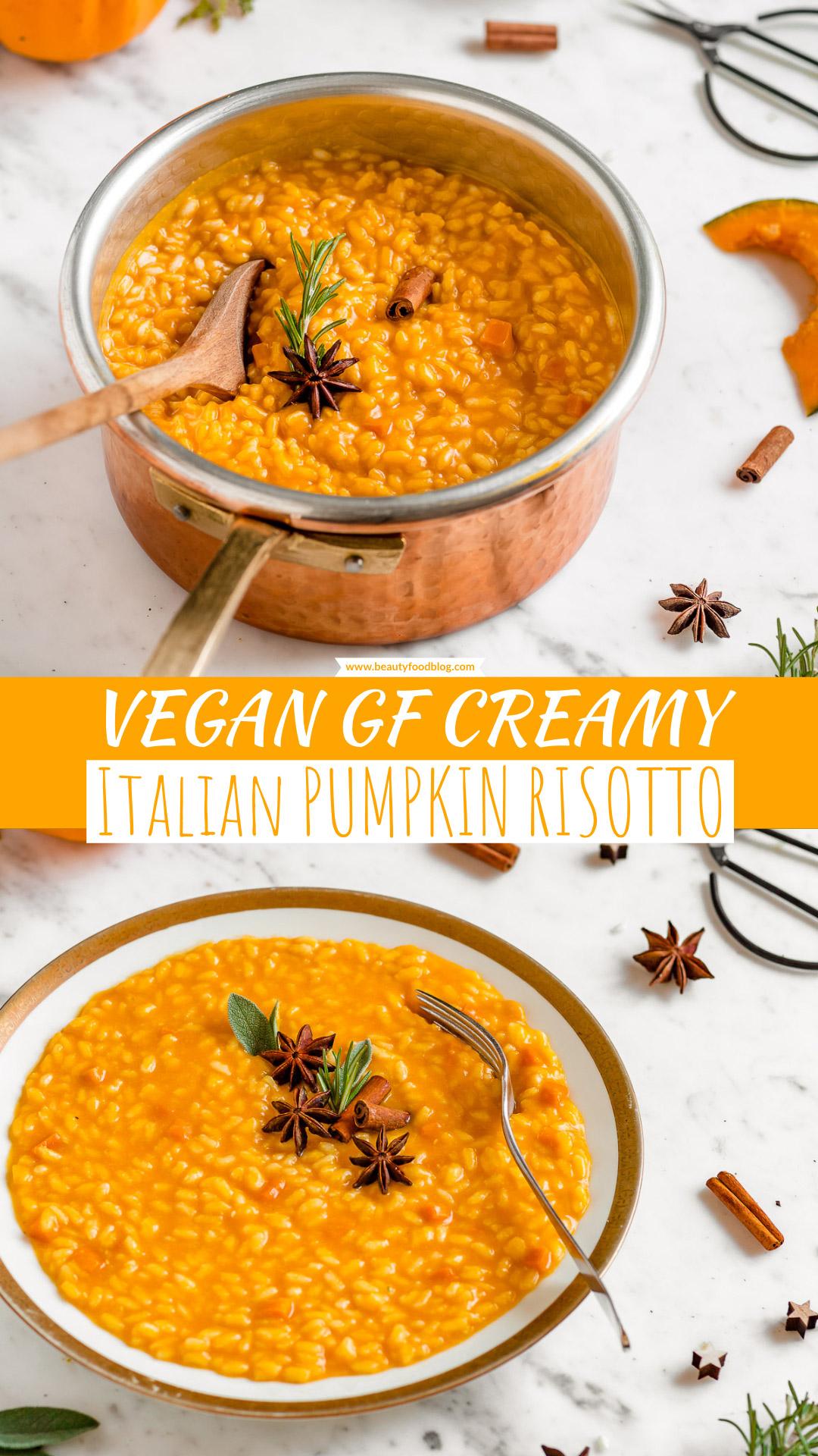 Ricetta RISOTTO alla ZUCCA VEGAN senza burro senza glutine cremoso light | Italian Creamy VEGAN PUMPKIN RISOTTO Recipe gluten-free #healthy #vegan #risotto #pumpkin | www.beautyfoodblog.com