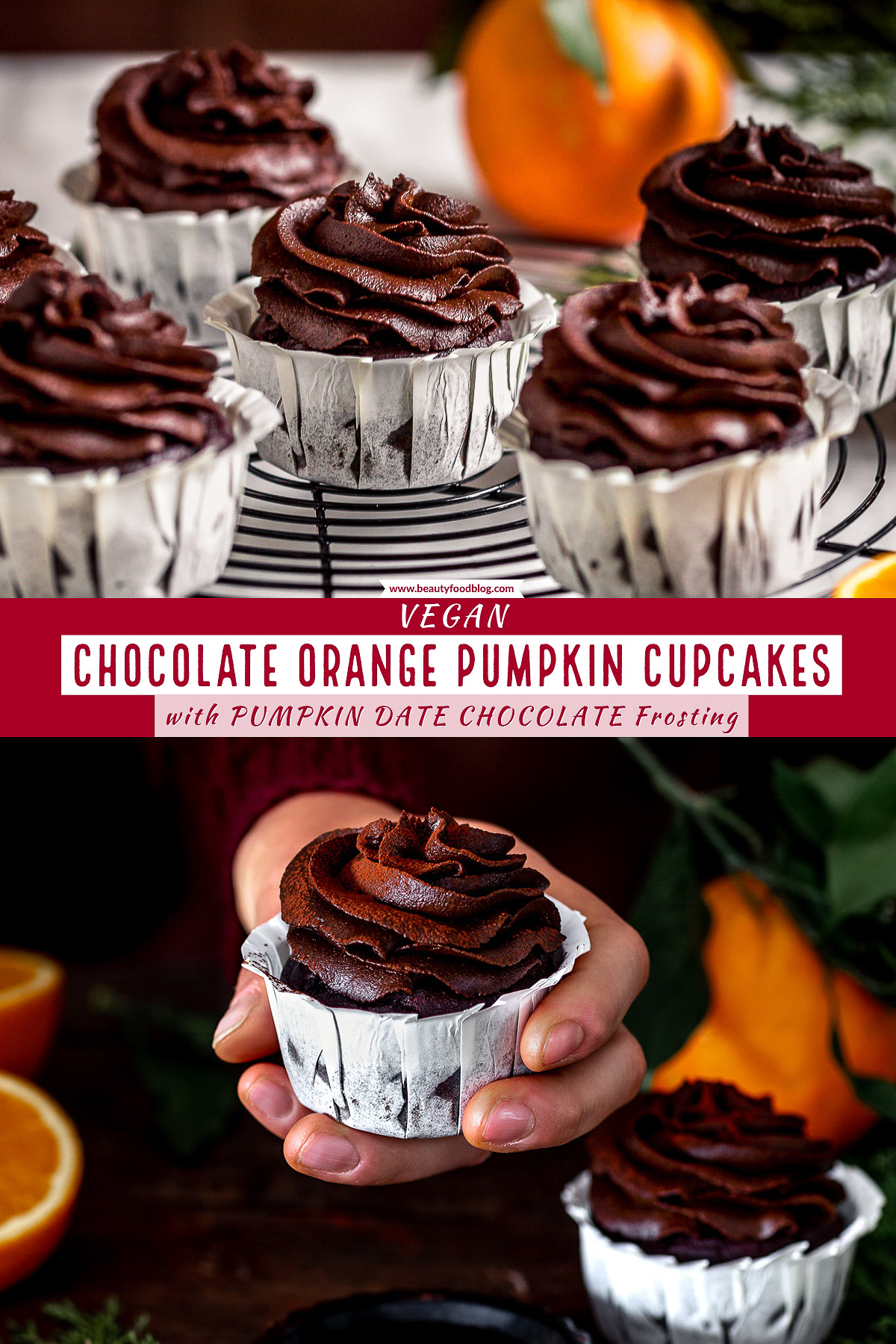 #VEGAN CHOCOLATE PUMPKIN CUPCAKES with orange and DATE #CHOCOLATE Frosting | #CUPCAKES VEGAN al CIOCCOLATO ARANCIA e ZUCCA con mousse al cioccolato datteri e zucca | www.beautyfoodblog.com