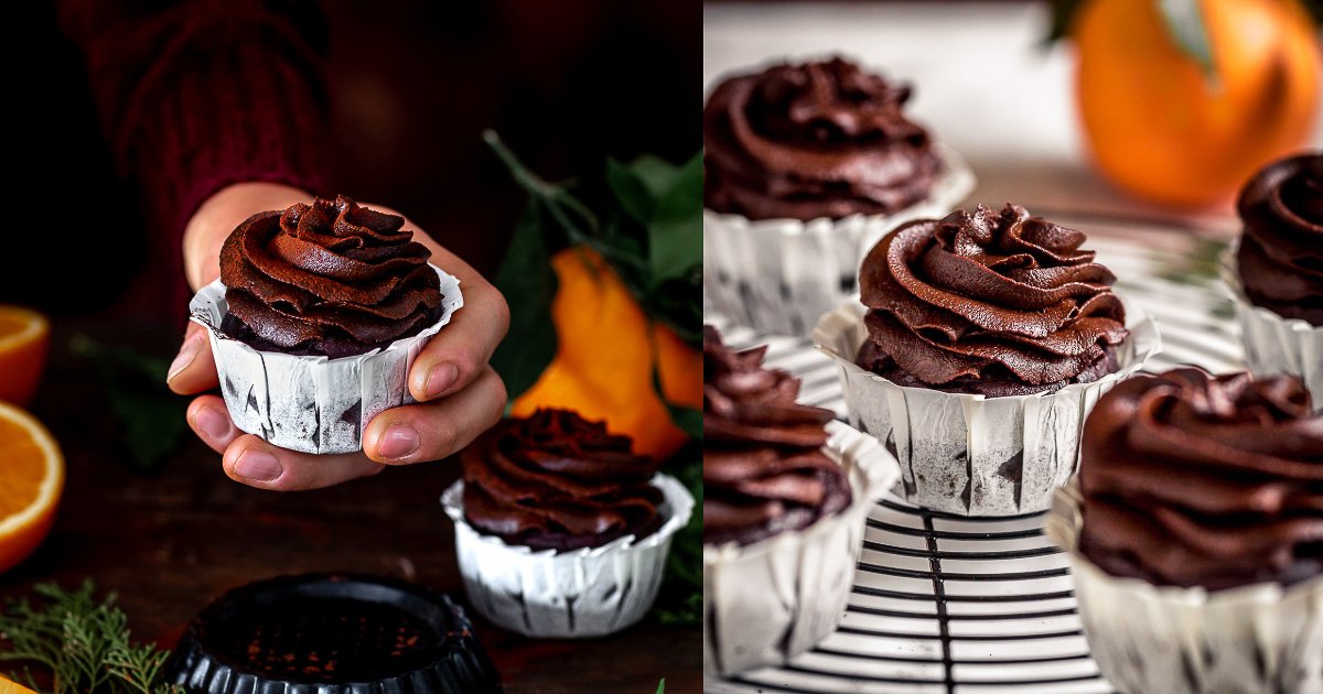 vegan CHOCOLATE PUMPKIN CUPCAKES with orange and DATE CHOCOLATE Frosting CUPCAKES VEGAN al CIOCCOLATO ARANCIA e ZUCCA con mousse al cioccolato datteri e zucca senza zucchero FB
