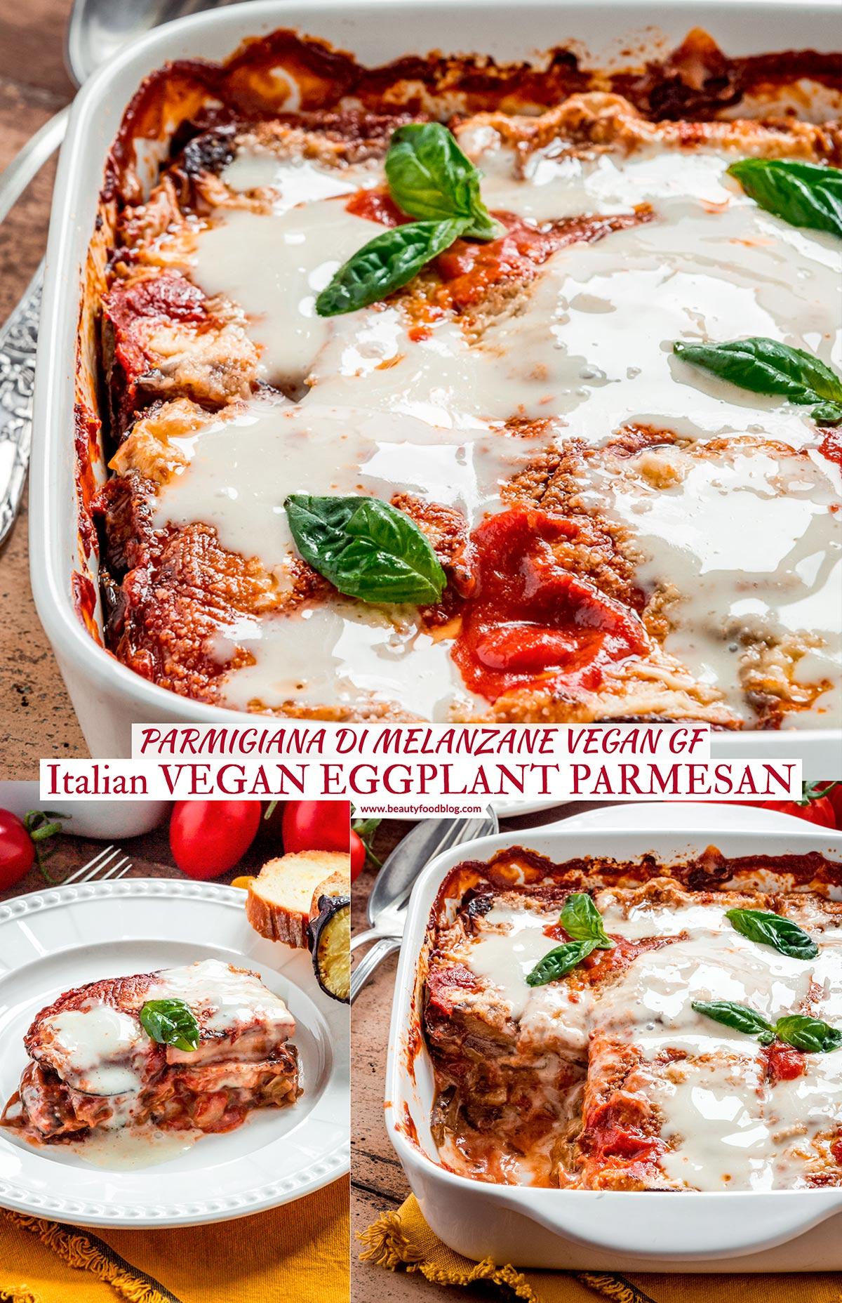 Italian Vegan EGGPLANT PARMESAN recipe with homemade vegan mozzarella and vegan parmesan MELANZANE alla PARMIGIANA VEGAN LIGHT al FORNO con mozzarella vegan fatta in casa e parmigiano vegan