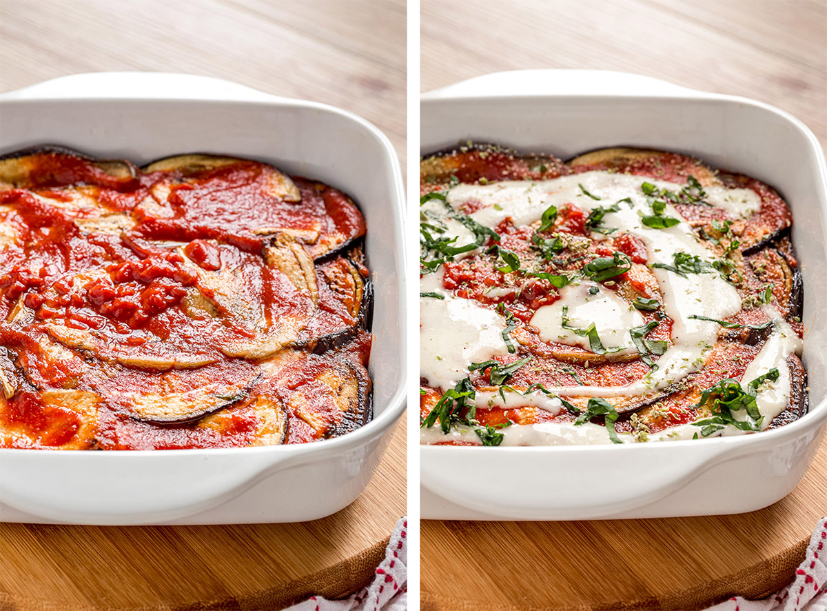 come preprare le MELANZANE alla PARMIGIANA VEGAN al FORNO LIGHT How to make Italian Vegan EGGPLANT PARMESAN with homemade vegan mozzarella
