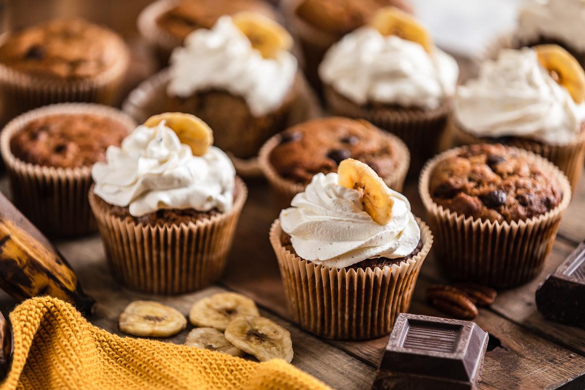 CUPCAKES VEGAN alla BANANA senza glutine con cioccolato chocolate chip gluten-free VEGAN BANANA CUPCAKES #healthy light #cupcakes