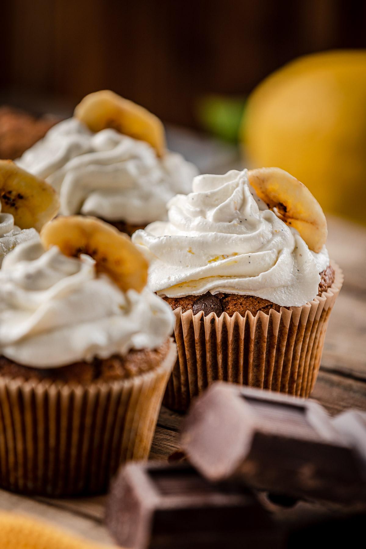 Healthy Chocolate chip gluten-free VEGAN BANANA CUPCAKES CUPCAKES VEGAN alla BANANA senza glutine con cioccolato