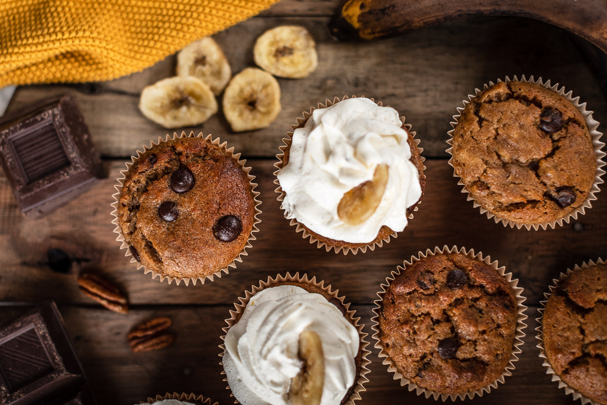 healthy chocolate chip gluten-free VEGAN BANANA CUPCAKES ricetta CUPCAKES VEGAN alla BANANA senza glutine al cioccolato