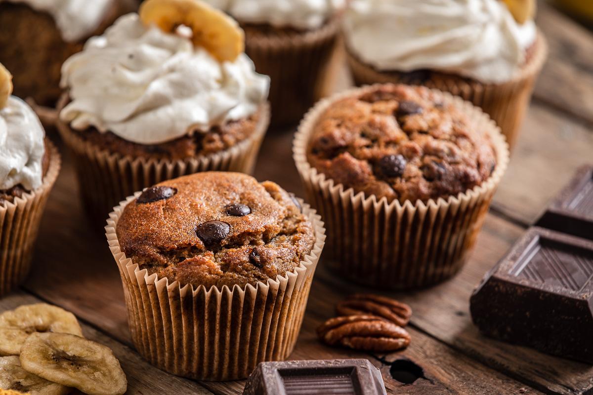 ricetta CUPCAKES VEGAN alla BANANA senza glutine al cioccolato chocolate chip gluten-free VEGAN BANANA CUPCAKES recipe