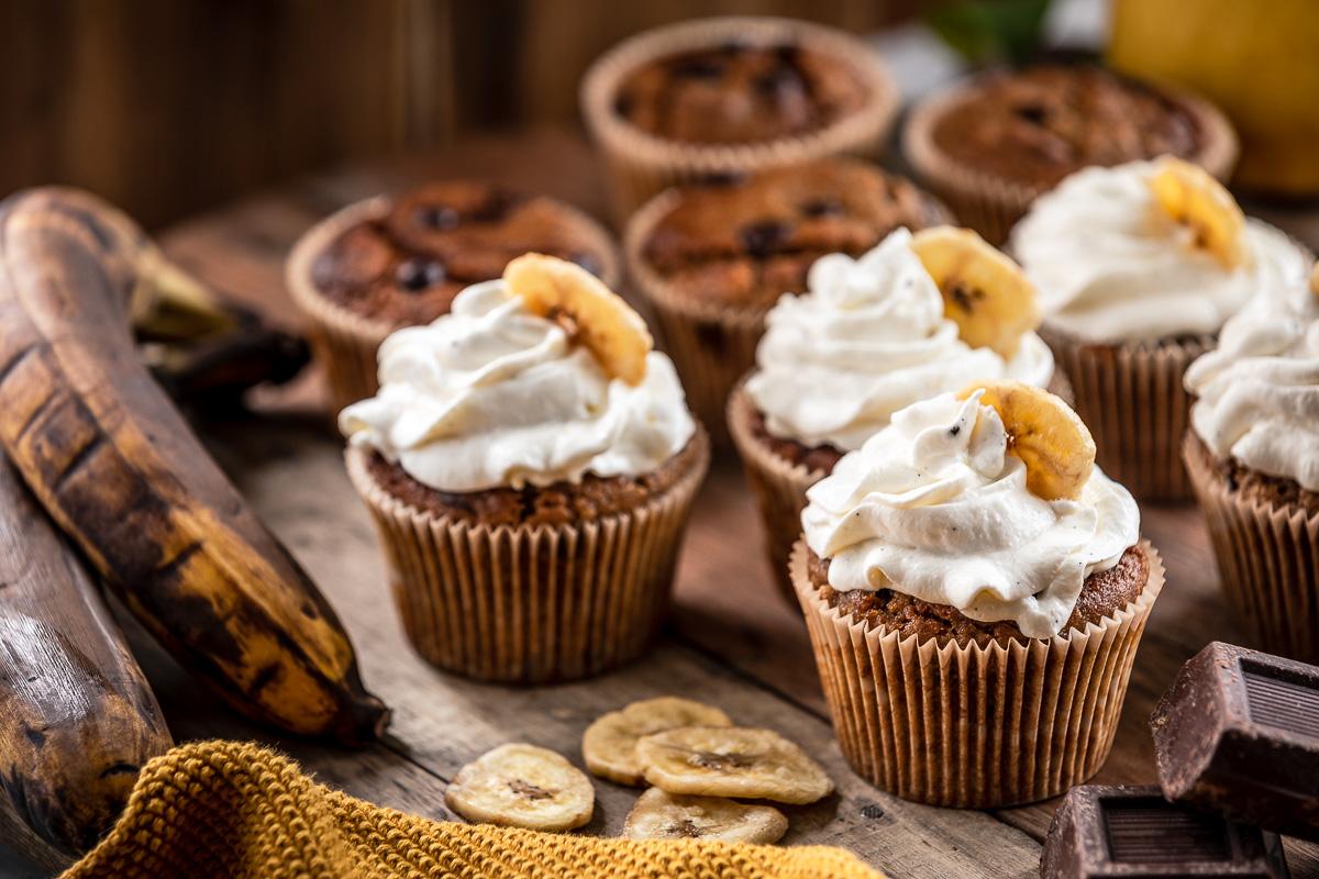 the best chocolate chip gluten-free VEGAN BANANA CUPCAKES ricetta CUPCAKES VEGAN alla BANANA senza glutine con cioccolato