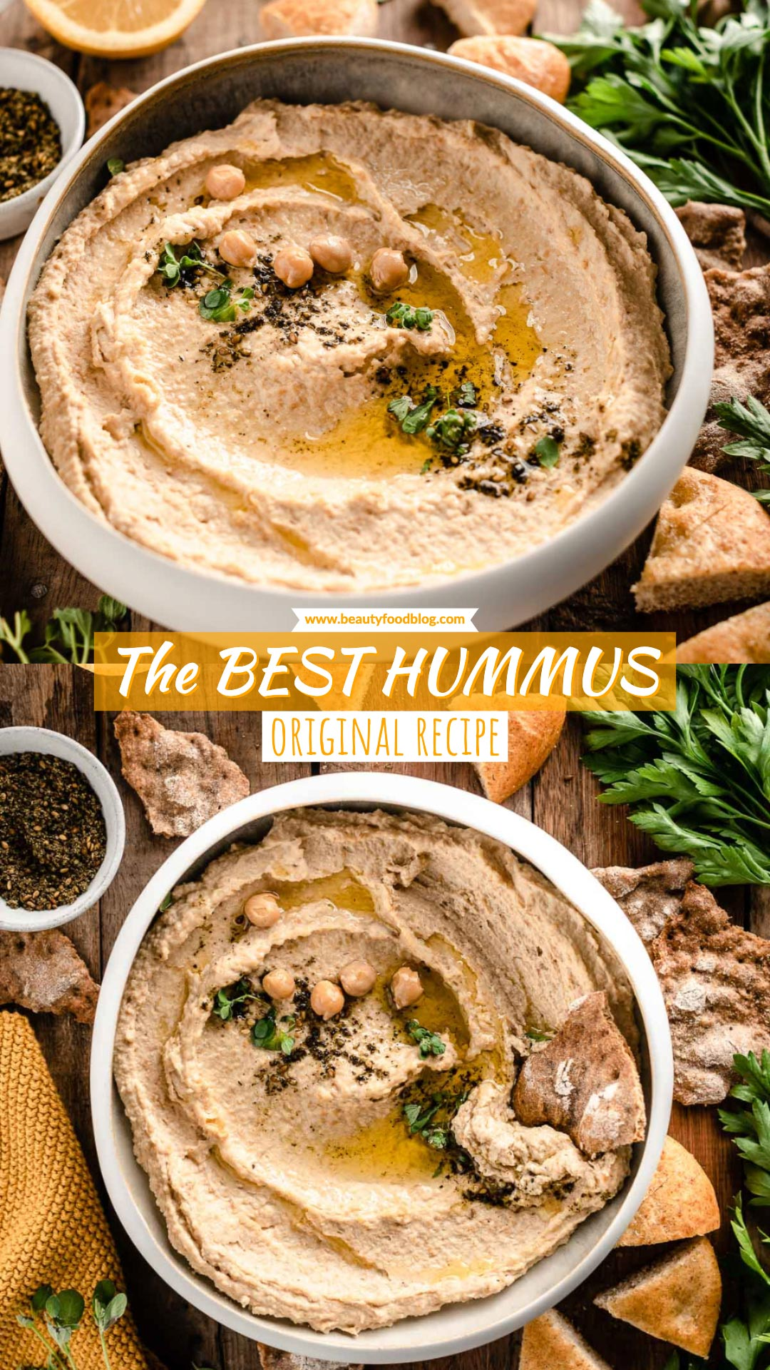 How to make the BEST CREAMY HUMMUS recipe with tahini and za'atar ricetta HUMMUS di CECI originale CREMOSO con tahina #vegan #hummus #chickpeas